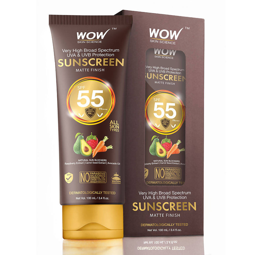 WOW Skin Science Sunscreen SPF 55 Lotion, 100mL Tube