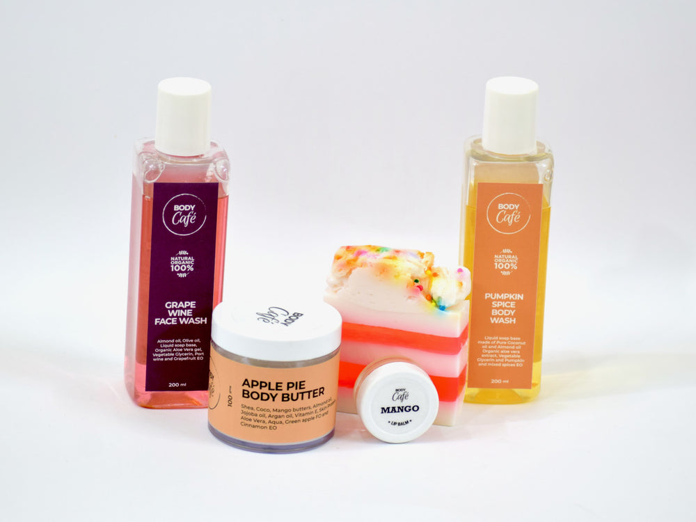 Giftbox BodyCafé -  Pumpkin Spice Body Wash, Lip balm, Apple Pie Body Butter & Hand Sanitizer