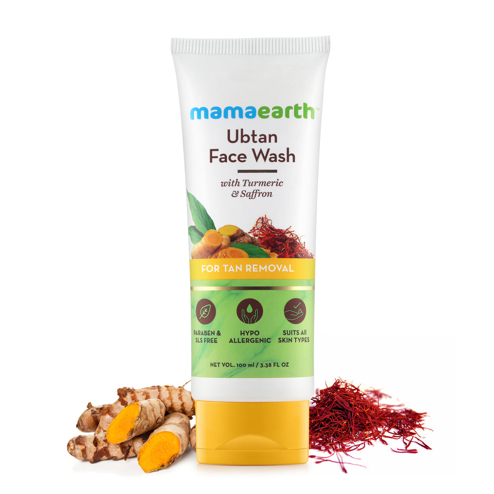 Mamaearth Ubtan Natural Face Wash for Dry Skin with Turmeric & Saffron for Tan removal and Skin brightning 100 ml