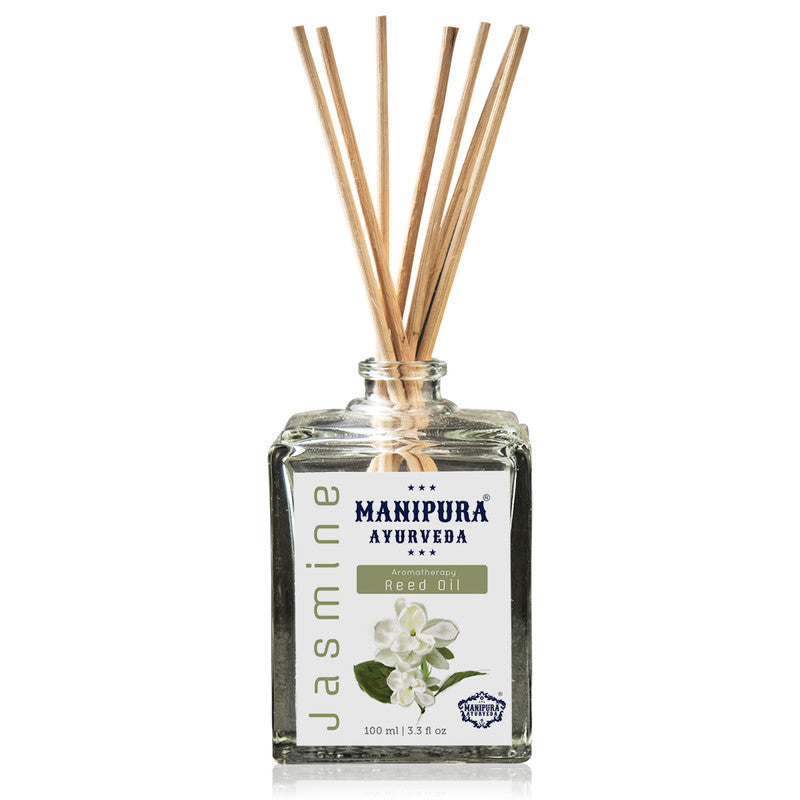 MANIPURA AYURVEDA Aromatherapy Diffuser Reed Oil with pure Essential Oils, Fragrance - Jasmine (100 ml)