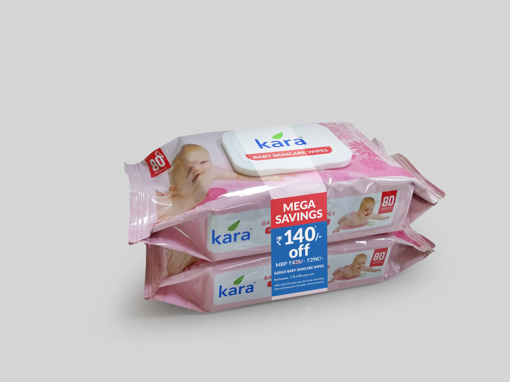 Kara Baby Cleansing Wipes 2 x 80 Wipes (With Lid)