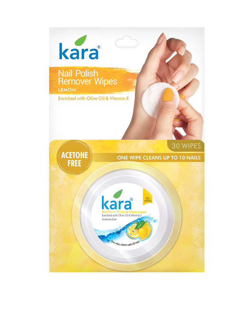 Kara Nail Polish Remover Wipes - Lemon (30 wipes) (Pack of 2)