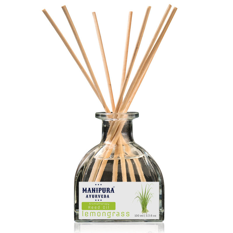 MANIPURA AYURVEDA Aromatherapy Diffuser Reed Oil with pure Essential Oils, Fragrance - Lemon Grass (100 ml)