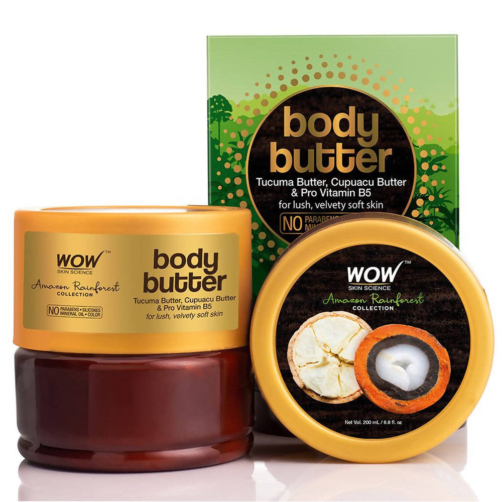 WOW Amazon Rainforest Collection Body Butter with Tucuma and Cupuacu Butter - No Paraben, Mineral Oil, Silicones and Color, 200 ml