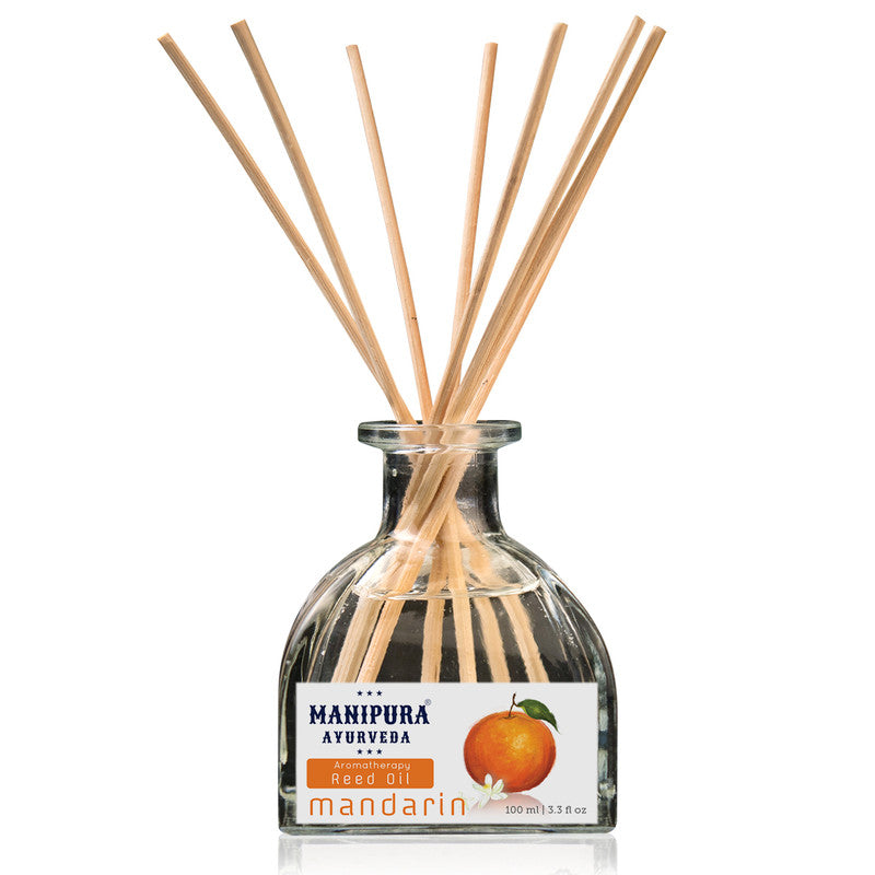 MANIPURA AYURVEDA Aromatherapy Diffuser Reed Oil with pure Essential Oils, Fragrance - Mandarin (100 ml)