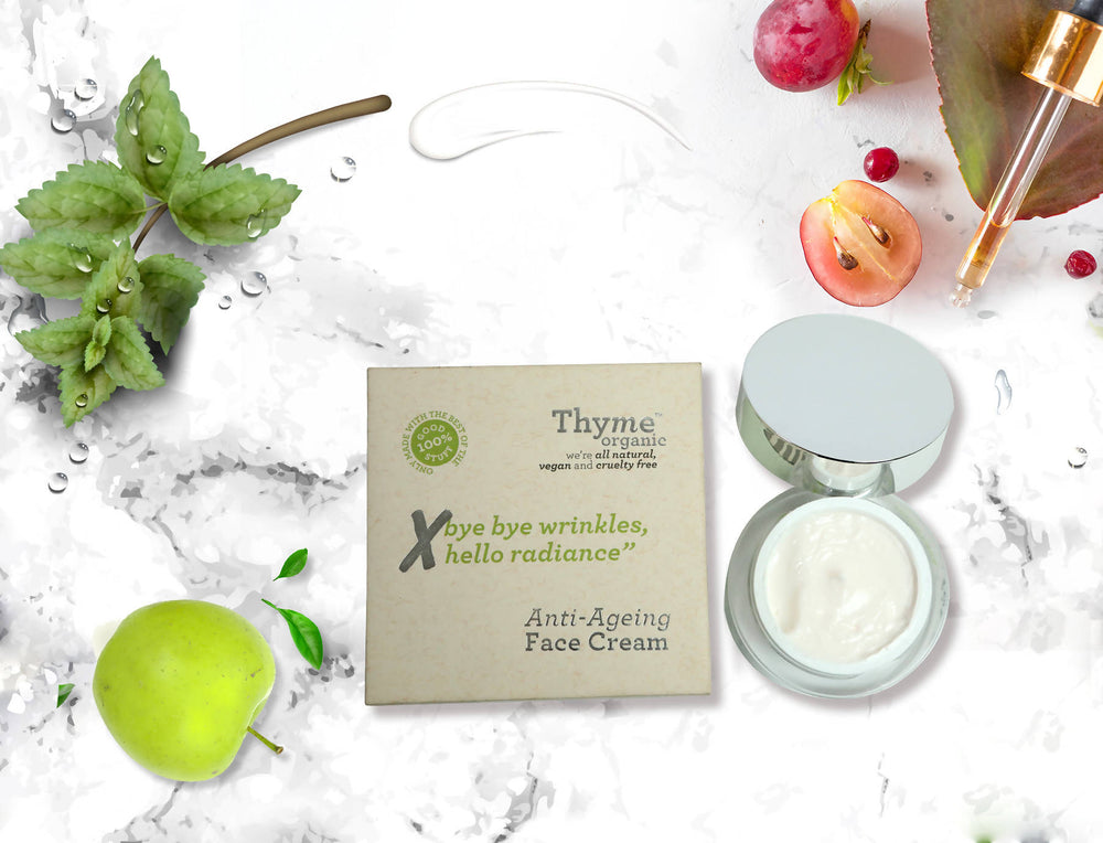 Thyme Organic Anti Ageing Night Face Cream-with Apple Stem Cells, Hyaluronic Acid, Vitamin E, Cranberry Oil - Helps in Removing Wrinkles & Fine Lines, 50 gm - 100% Toxic Chemical Free