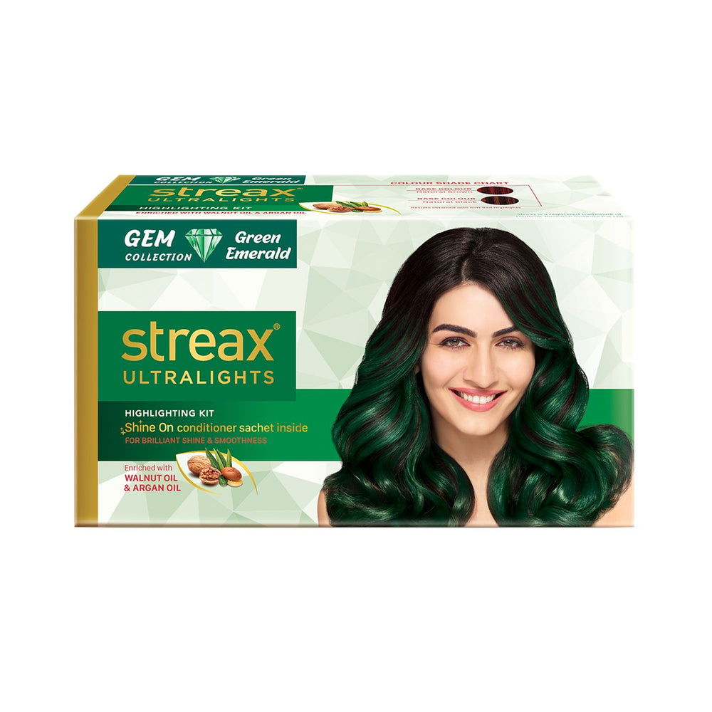 Streax Ultralights Highlighting Kit for Women & Men | Contains Walnut & Argan Oil | Shine On Conditioner | Longer Lasting Highlights | Gem Collection - Green Emerald | 120 ml (Pack of 2)