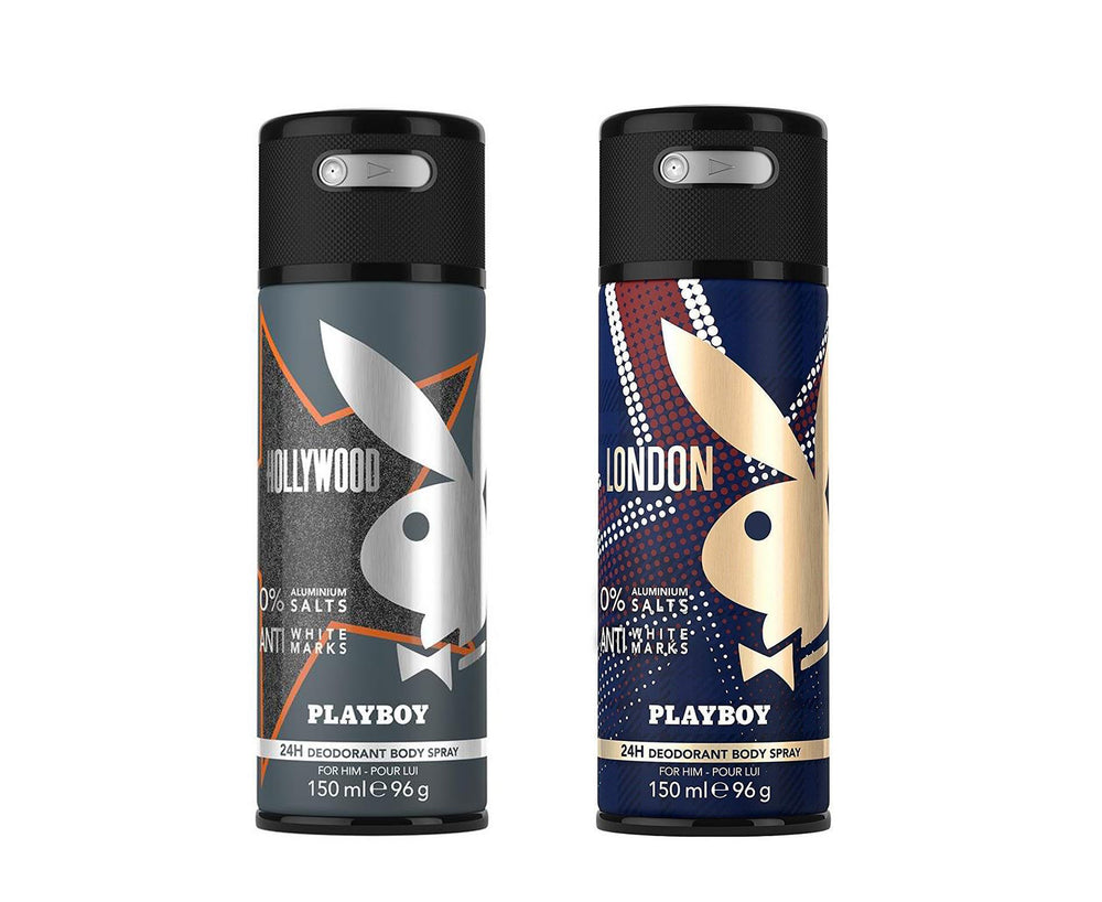 Playboy Hollywood + London Deo New Combo Set - Pack of 2 Mens