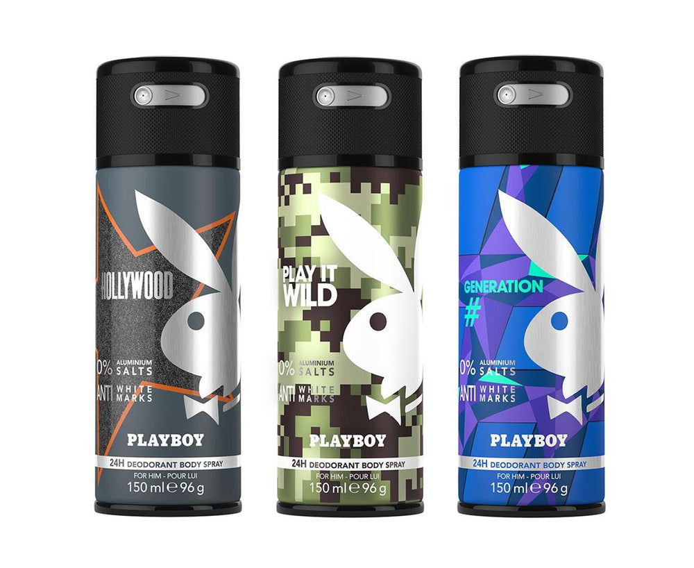 Playboy Hollywood + Wild + Generation Deo New Combo Set - Pack of 3 Mens