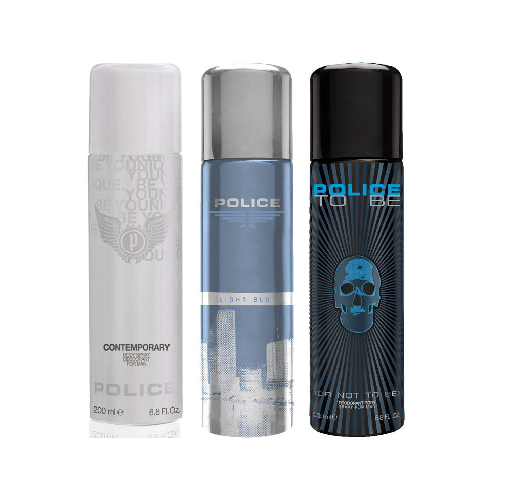Police Light blue + Contemporary + To be Deo Combo Set - Pack of 3