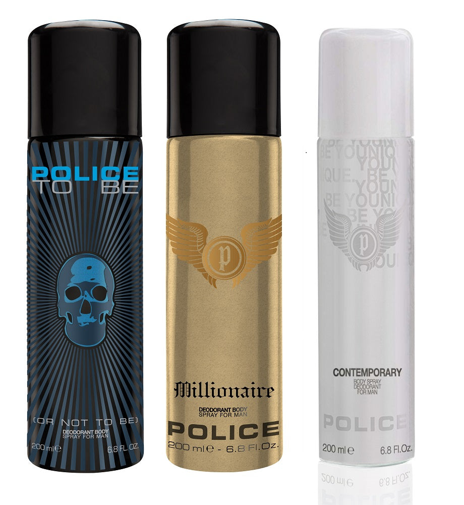 Police Contemporary + To be + Millionaire Deo Combo Set - Pack of 3