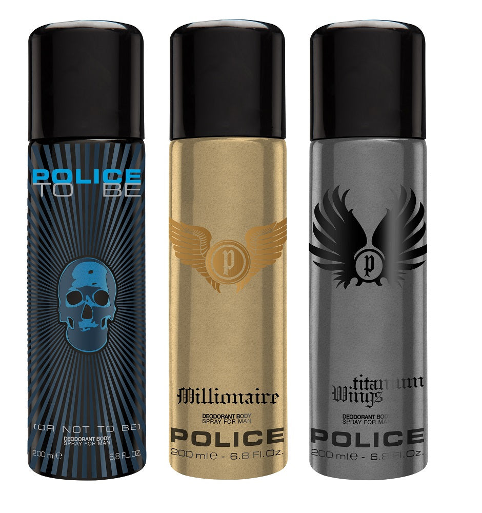 Police To be + Millionaire + Wings titanium Deo Combo Set - Pack of 3
