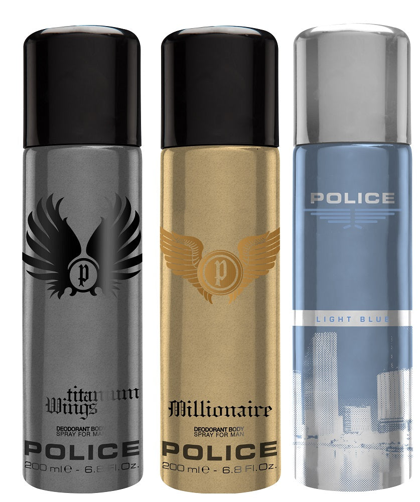 Police Millionaire + Wings titanium + Light blue Deo Combo Set - Pack of 3