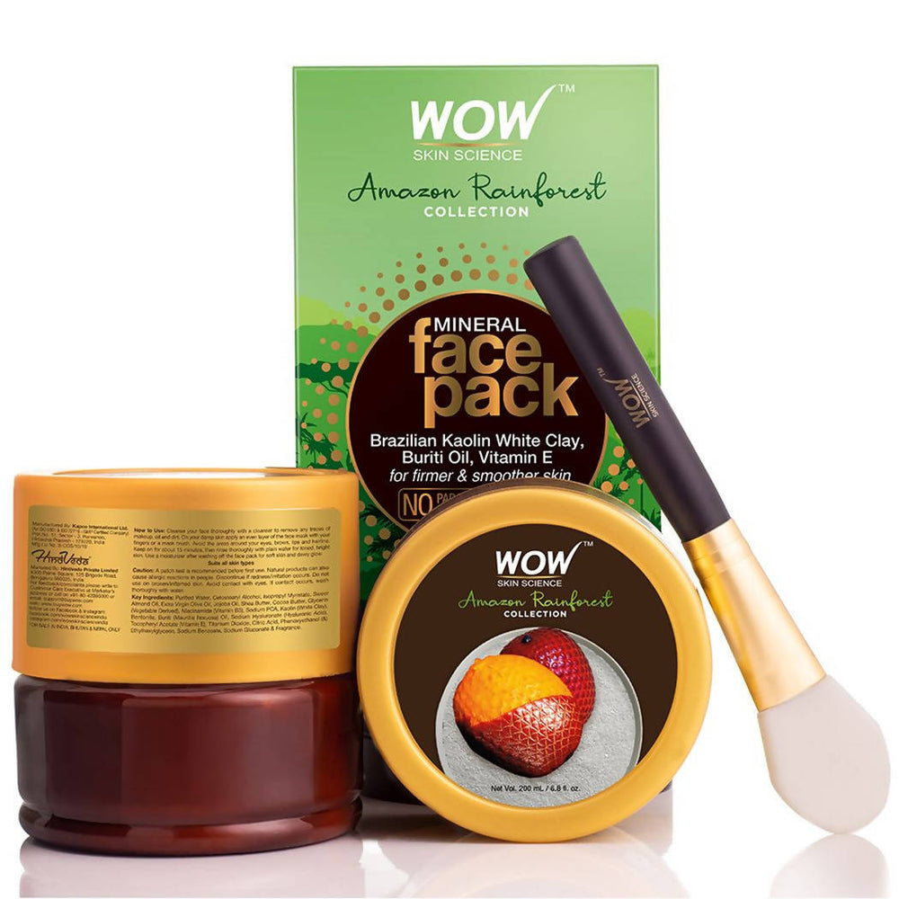 WOW Amazon Rainforest Collection - Mineral Face Pack with Brazilian Kaolin White Clay, Buriti Oil - No Parabens, Sulphate, Silicones and Color, 200 ml
