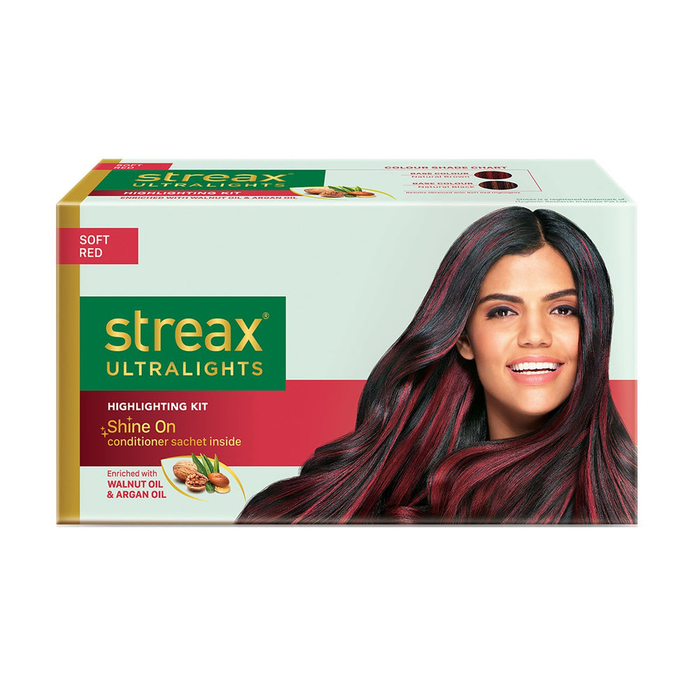 Streax Ultralights Highlighting Kit for Women & Men | Contains Walnut & Argan Oil | Shine On Conditioner | Longer Lasting Highlights | Soft Red | 120 ml