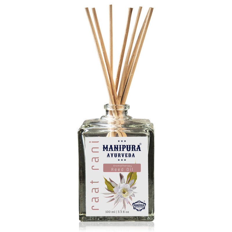 MANIPURA AYURVEDA Aromatherapy Diffuser Reed Oil with pure Essential Oils, Fragrance - Raat Rani (100 ml)