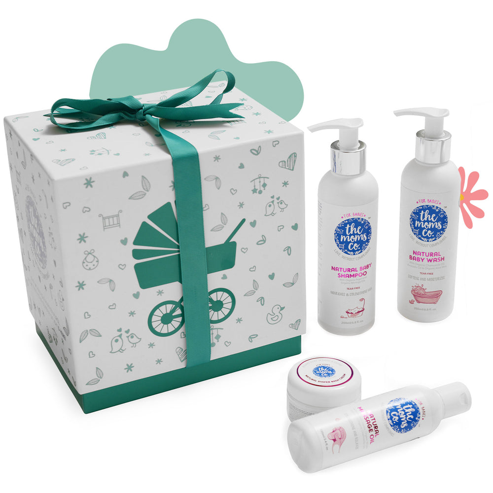 The Moms Co. Baby Essentials Ribbon Gift Box with Shampoo (200 ml), Diaper rash cream (25 gm), Baby Wash (200 ml) and Massage oil (100 ml)