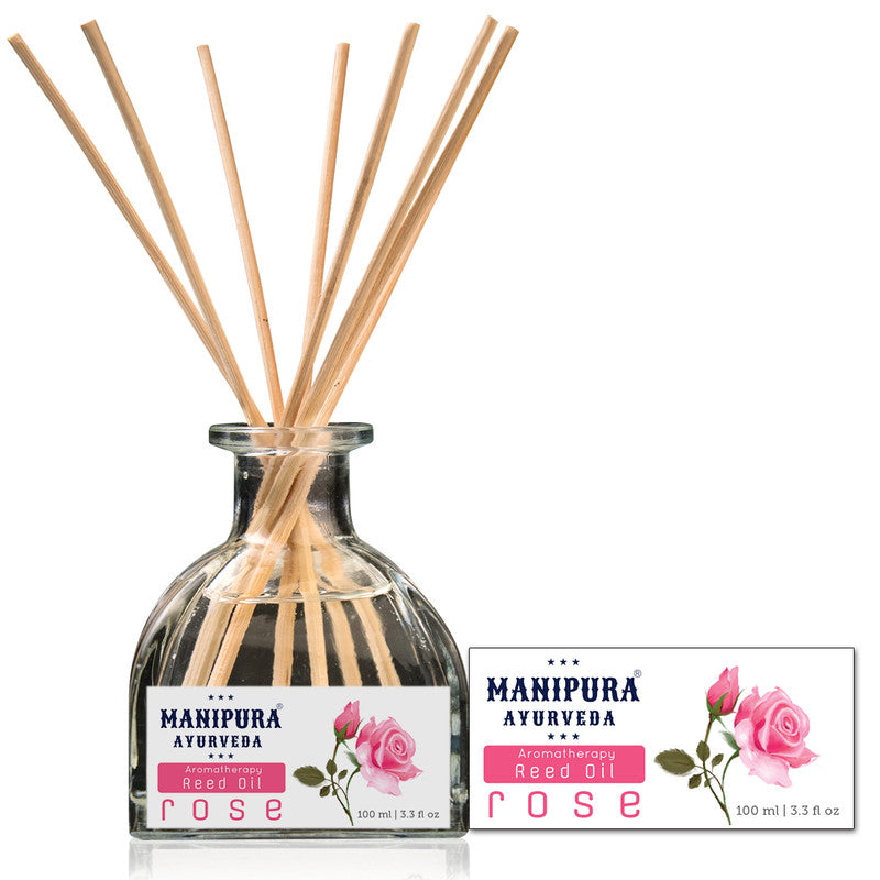 MANIPURA AYURVEDA Aromatherapy Diffuser Reed Oil with pure Essential Oils, Fragrance - Rose (100 ml)