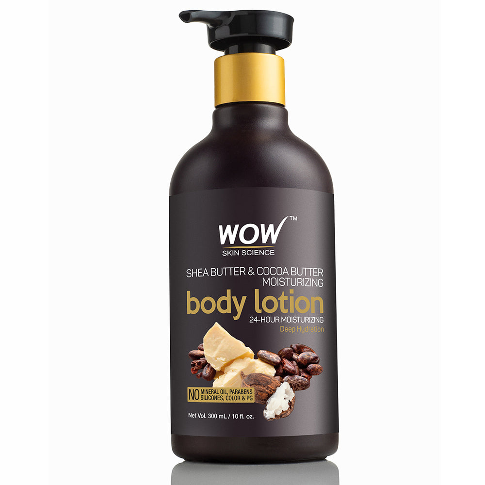 WOW Skin Science Shea & Cocoa Butter Moisturizing  Body Lotion - Deep Hydration - 300 mL