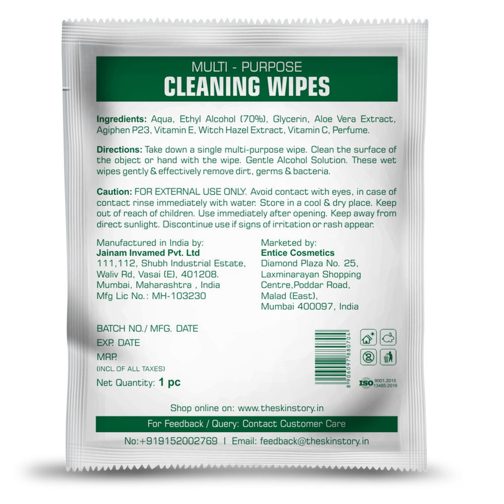 The Skin Story Multi Purpose Cleaning Wipes - 70 % Alcohol , Removes Dirts , Germs and Bacteria (30 Wipes)