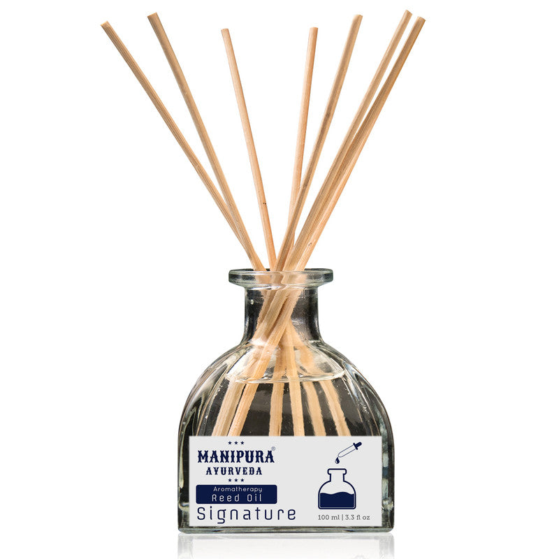 MANIPURA AYURVEDA Aromatherapy Signature Diffuser Reed Oil with pure Essential Oils (100 ml)