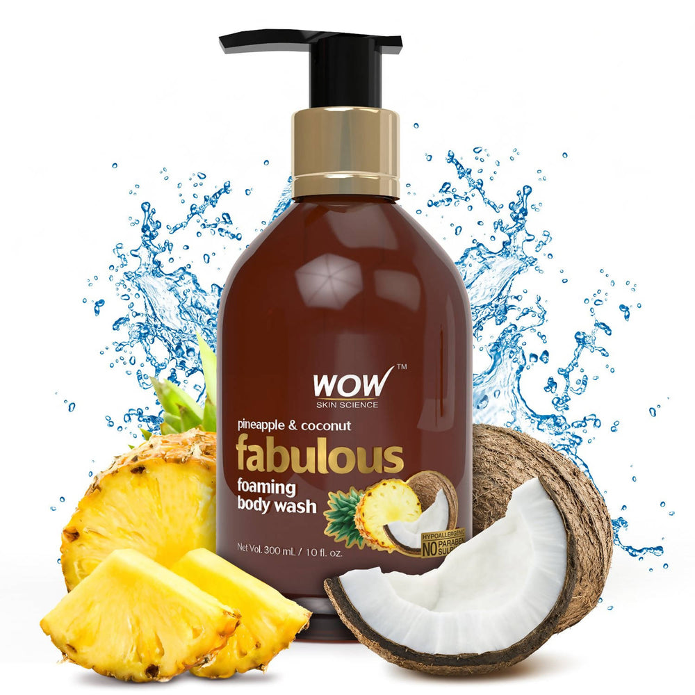 WOW Skin Science Pineapple & Fresh Coconut Water Foaming Body Wash - No Parabens, Sulphate, Silicones & Color - 250mL
