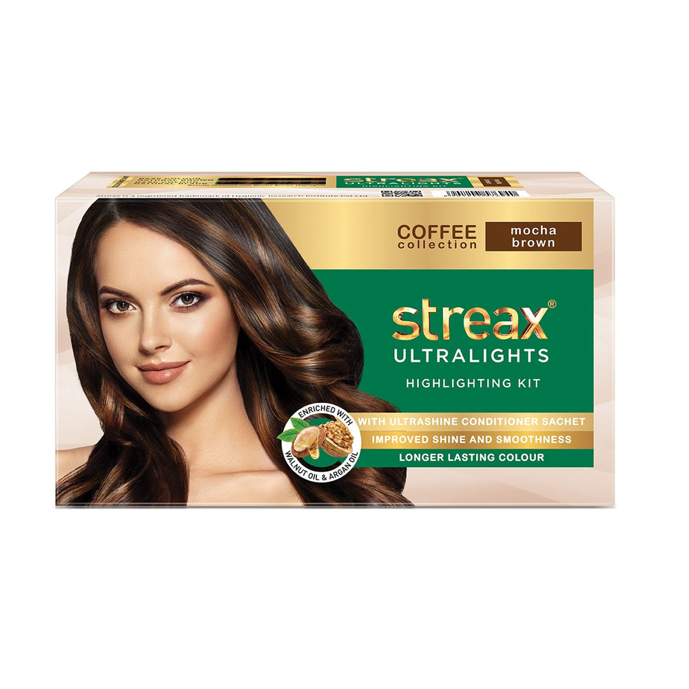 Streax Ultralights Highlighting Kit for Women & Men | Contains Walnut & Argan Oil | Shine On Conditioner | Longer Lasting Highlights | Coffee Collection - Mocha Brown | 120 ml (Pack of 2)