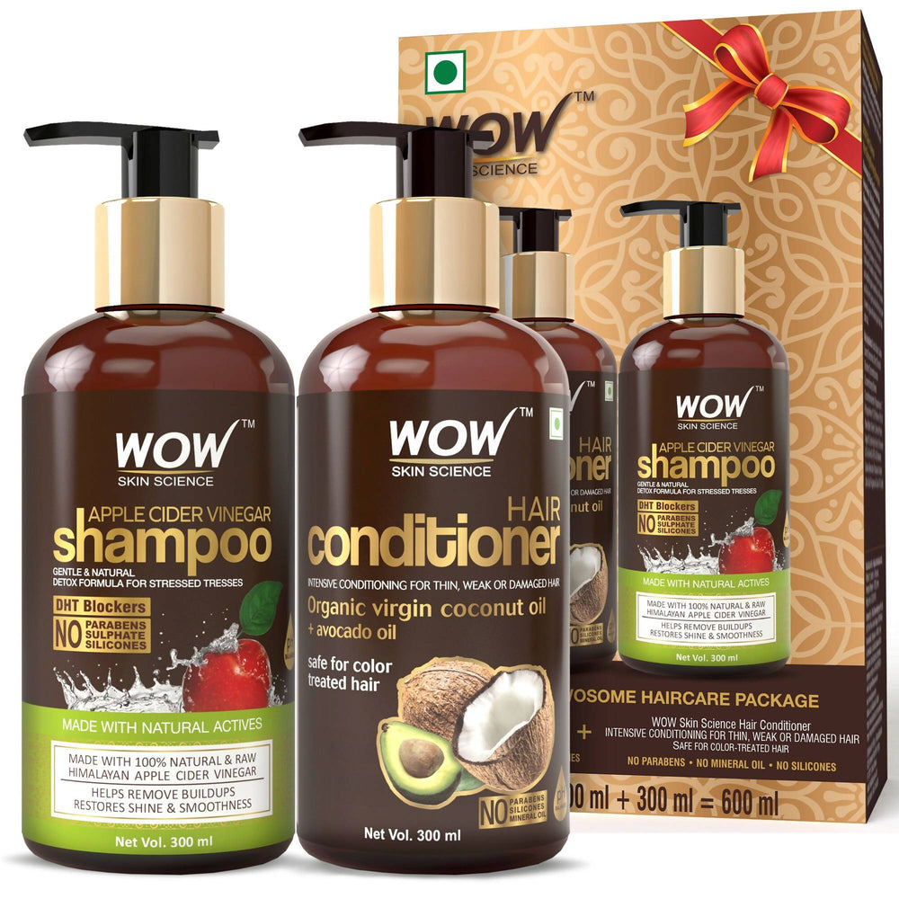 WOW Skin Science Wowsome Twosome Hair Care Combo Kit (600ml) (Shampoo+ Conditioner)