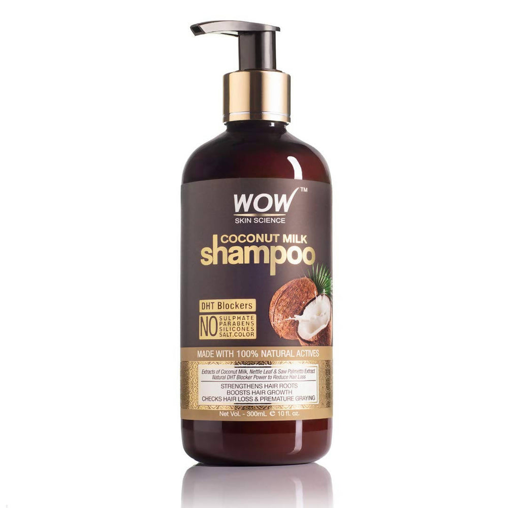 WOW Skin Science Coconut Milk Shampoo (New) - No Parabens, Sulphate, Silicones, Color & Salt - DHT BLOCKERS - 300mL