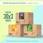 Weight Management and Detox Pack - 90 shots | 30 days | Green Tea Apple Cider Vinegar + Activated Charcoal Aloe Vera + Lemon Cinnamon Garcinia