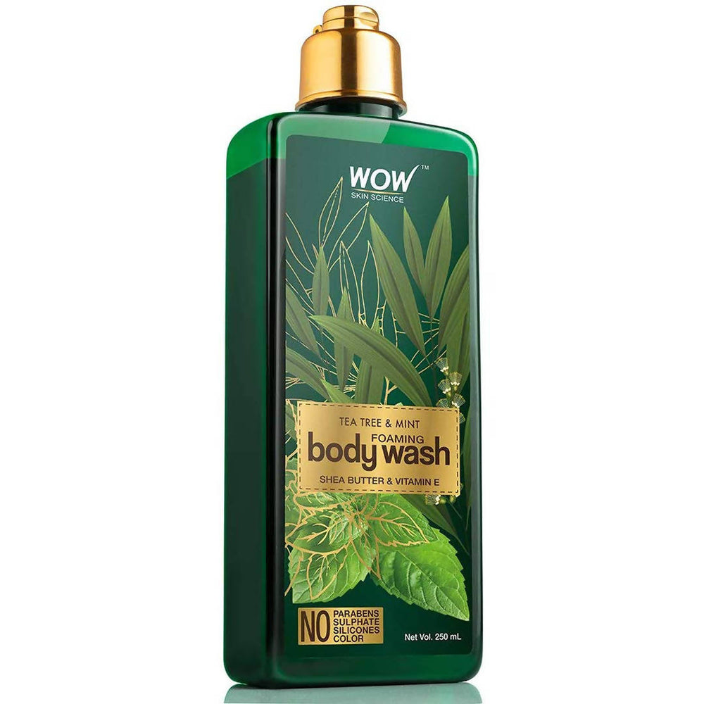 WOW Skin Science Tea Tree & Mint Foaming Body Wash - No Parabens, Sulphate, Silicones & Color - 250mL