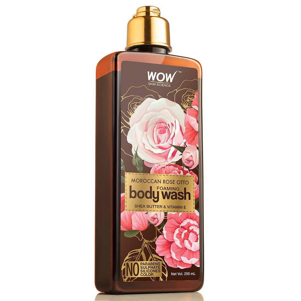 WOW Skin Science Rose Otto Foaming Body Wash - No Parabens, Sulphate, Silicones & Color - 250mL