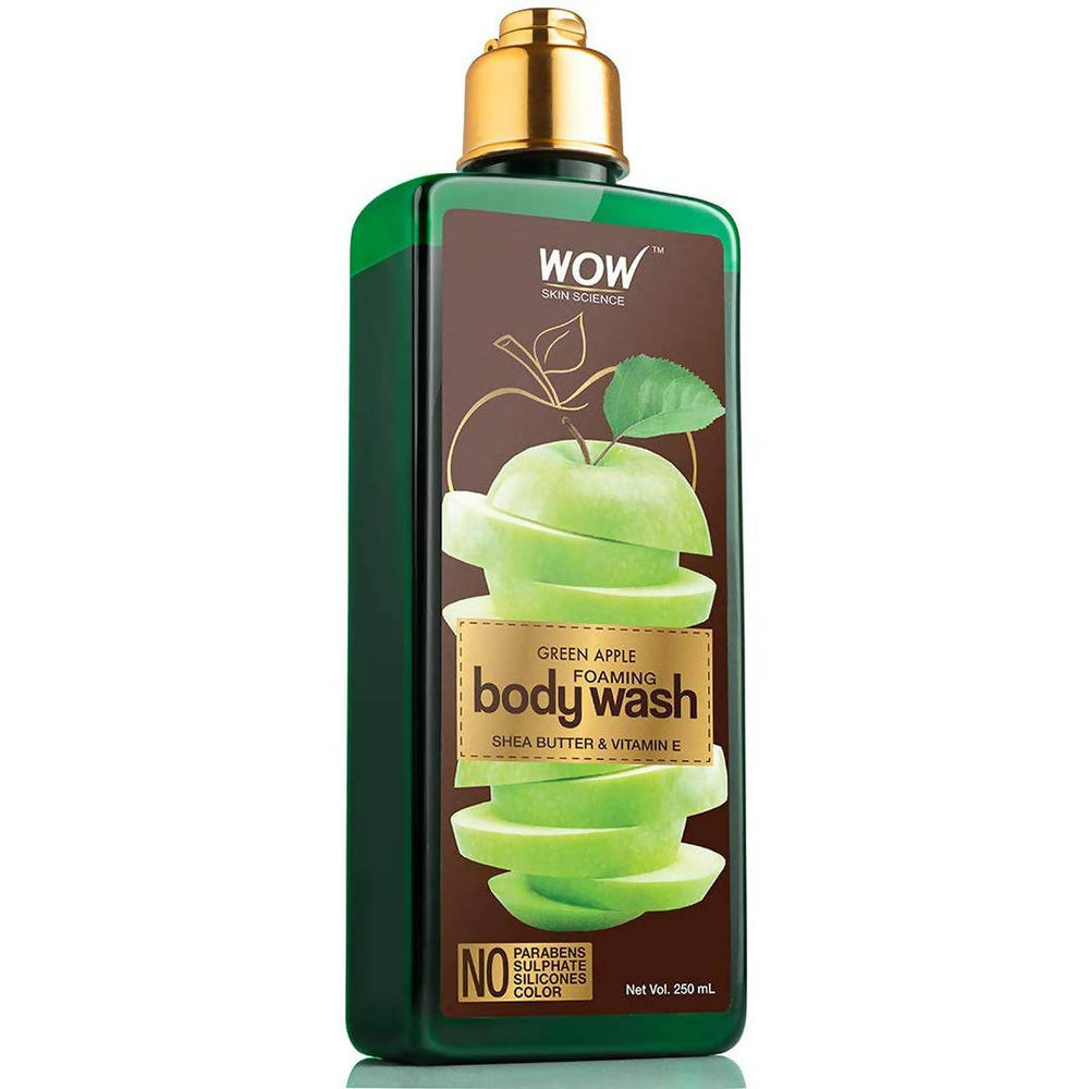 WOW Skin Science Green Apple Foaming Body Wash - No Parabens, Sulphate, Silicones & Color - 250mL