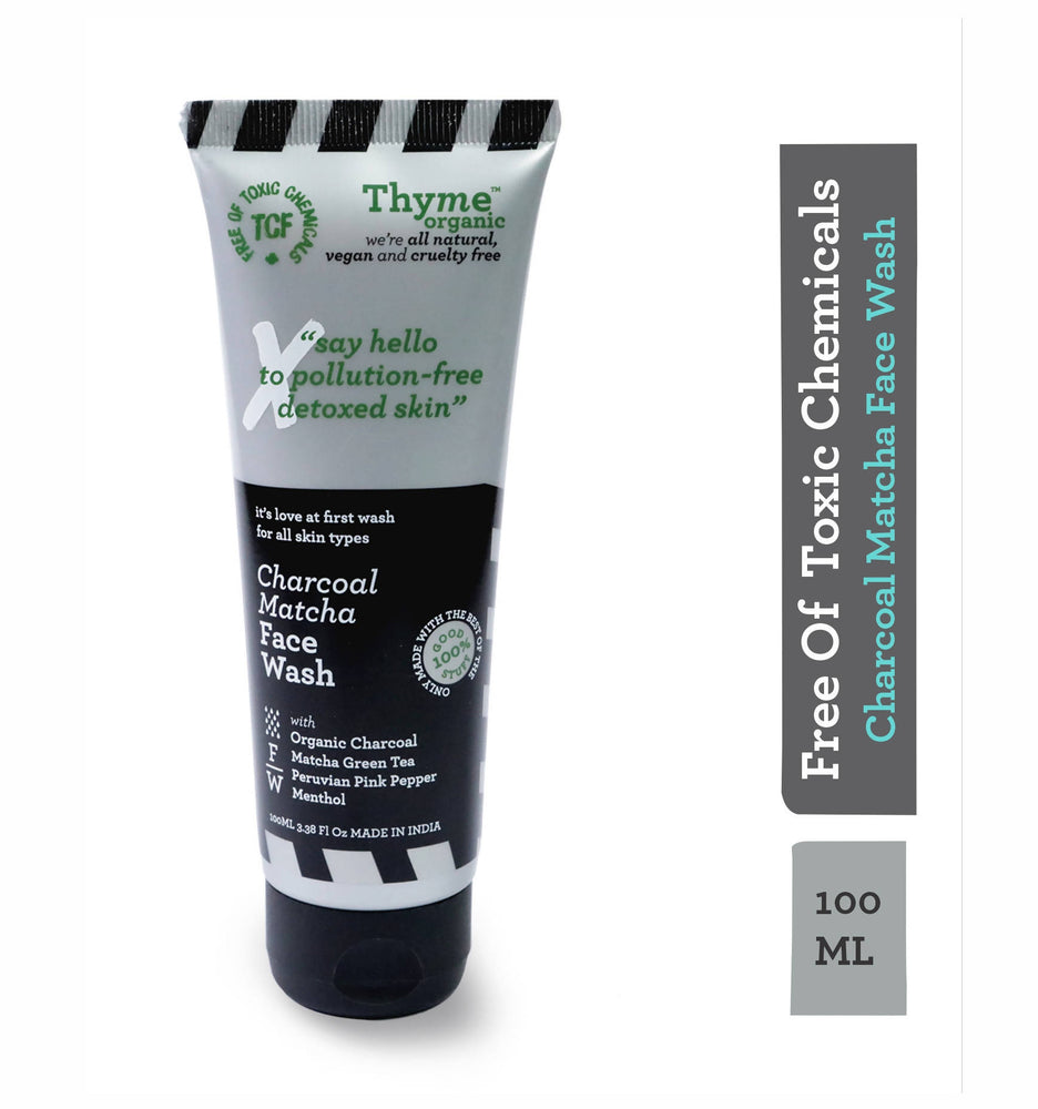 Thyme Organic Charcoal Matcha Face Wash with Organic Activated Bamboo Charcoal, Matcha Green Tea & Perviam Pink Pepper - Detoxifies and Fights Pollution (100 ml)- 100% Toxic Chemical Free, Natural, Organic, vegan & Cruelty Free