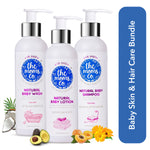 The Moms Co. Natural Bath Essentials For Baby with Shampoo (200 ml), Lotion (200 ml) and Wash(200 ml)