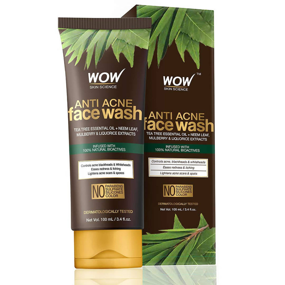 WOW Anti Acne Neem & Tea Tree Face Wash - OIL Free - No Parabens, Sulphate, Silicones & Color - 100mL