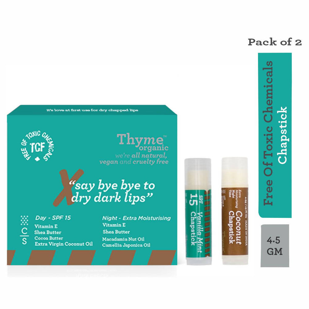 Thyme Organic Chapstick - Set of 2 ( Day- with SPF15 & Night with extra moisturising ) with Shea Butter, Vanilla Mint, Vitamin E & Cocoa Butter