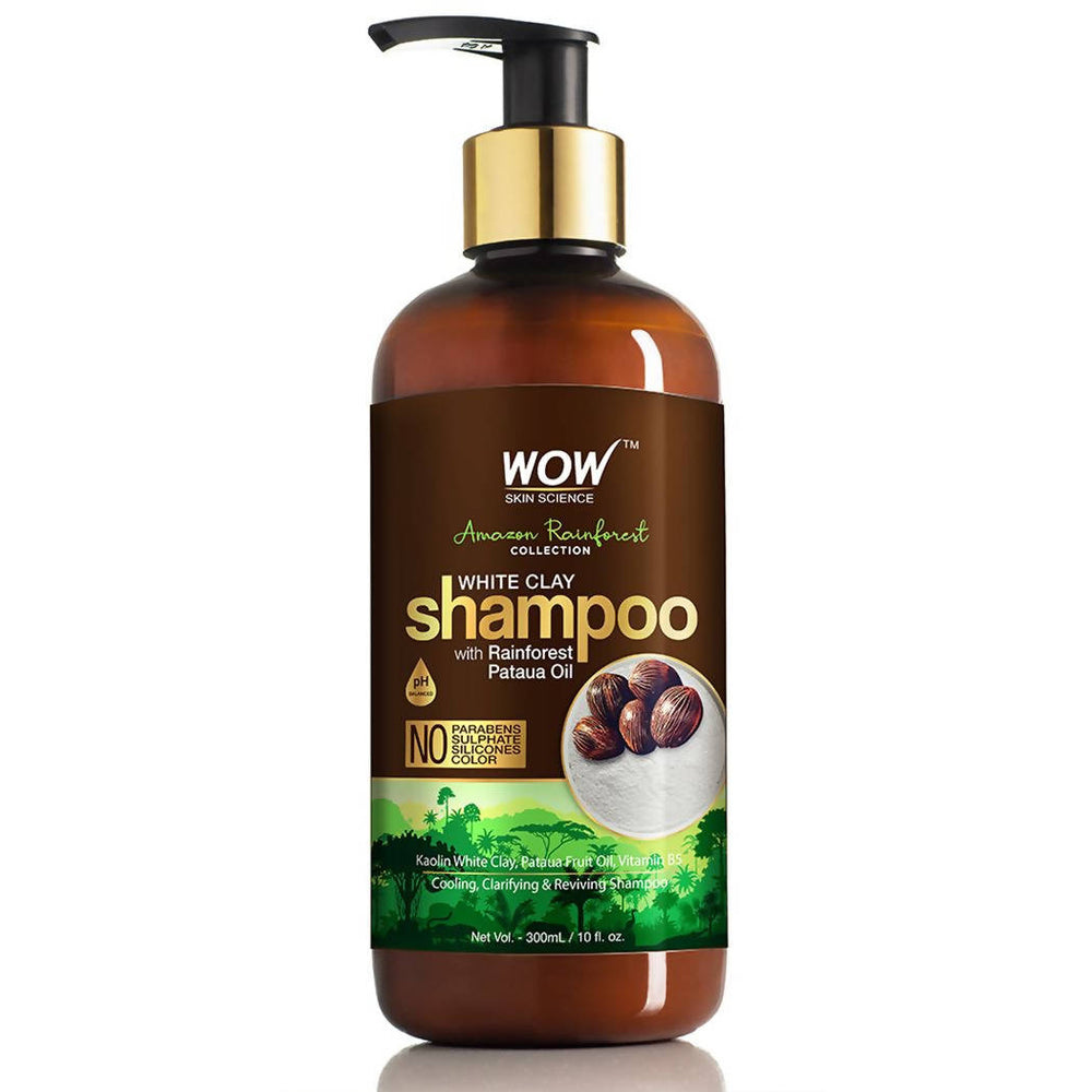 WOW Skin Science Amazon Rainforest Collection - White Clay Shampoo with Rainforest Pataua Oil - No Parabens, Sulphate, Silicones and Color (300 mL)