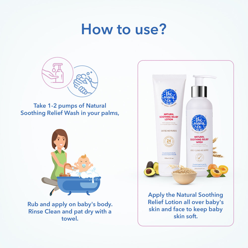 Very Dry, Sensitive Skin Solution | 24 Hours Clinically Proven Moisturising | The Moms Co. Soothing Relief Baby Wash and Baby Lotion Works for Skin Redness, Rashes and Eczema-Prone Skin