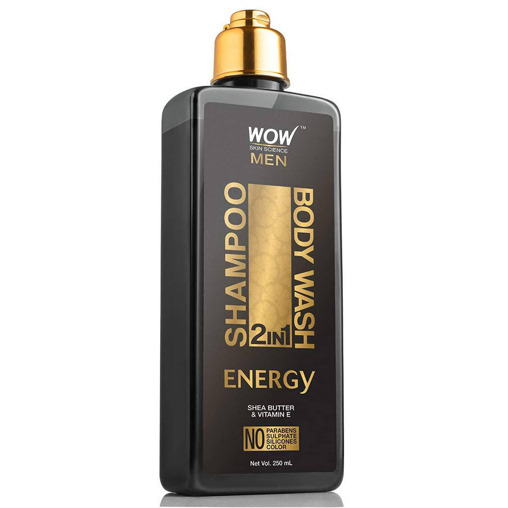 WOW Skin Science Energy 2-in-1 Shampoo + Body Wash - No Parabens, Sulphate, Silicones & Color (250 mL)