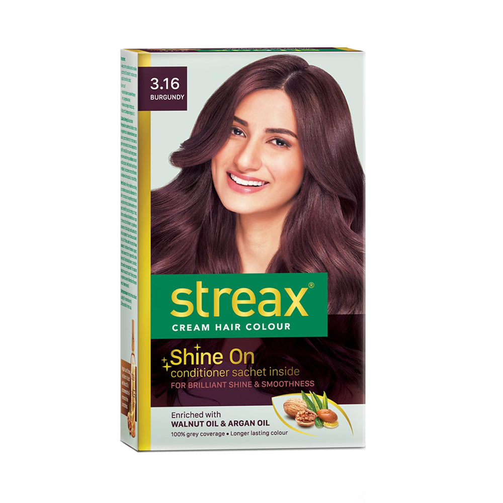 Streax Cream Hair Colour for Women & Men | Burgundy | Enriched with Walnut & Argan Oil | Instant Shine & Smoothness | Long Lasting Hair Colour | Soft & Silky Touch | 60 ml