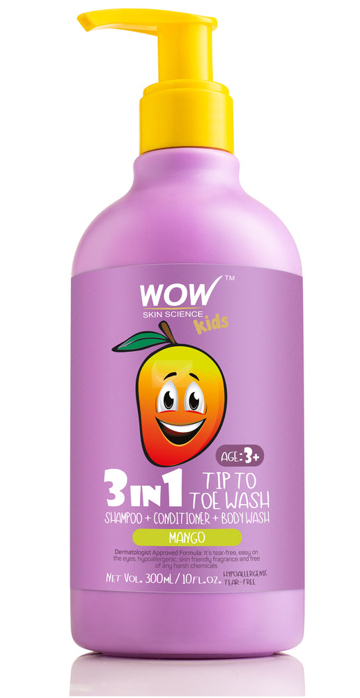WOW Skin Science Kids 3 in 1  Tip to Toe Wash - Mango - 300 mL