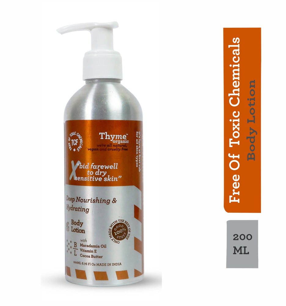 Thyme Organic Deep Nourishing & Hydrating Body Lotion with Macadamia Oil, Shea Butter & Wheatgerm Oil ( 200 ml)- 100% Toxic Chemical Free, Natural, Organic, Vegan & Cruelty Free