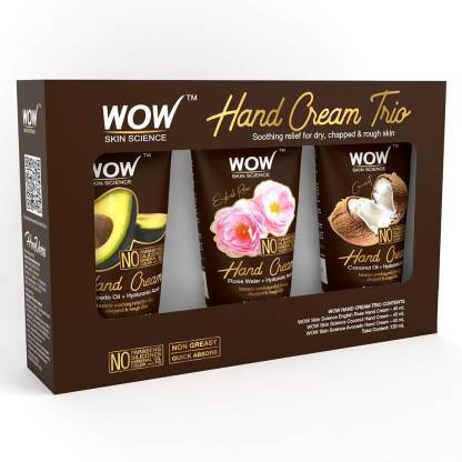 WOW Skin Science Hand Cream Trio - Avocado + Coconut + English Rose - No Parabens, Silicones, Mineral Oil, Color & PG (120 mL)