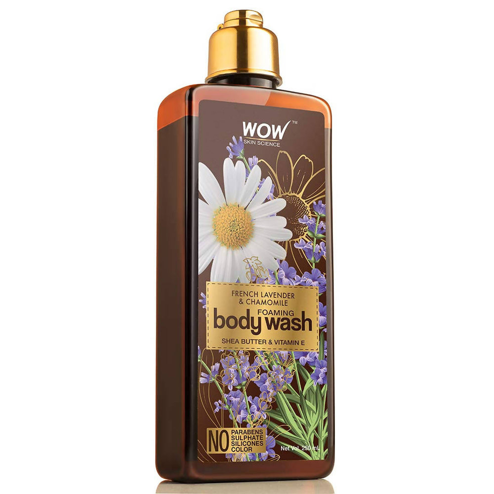 WOW Skin Science French Lavender & Chamomile Foaming Body Wash - No Parabens, Sulphate, Silicones & Color - 250mL