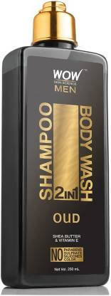 WOW Skin Science Oud 2-in-1 Shampoo + Body Wash - No Parabens, Sulphate, Silicones & Color (250 mL)