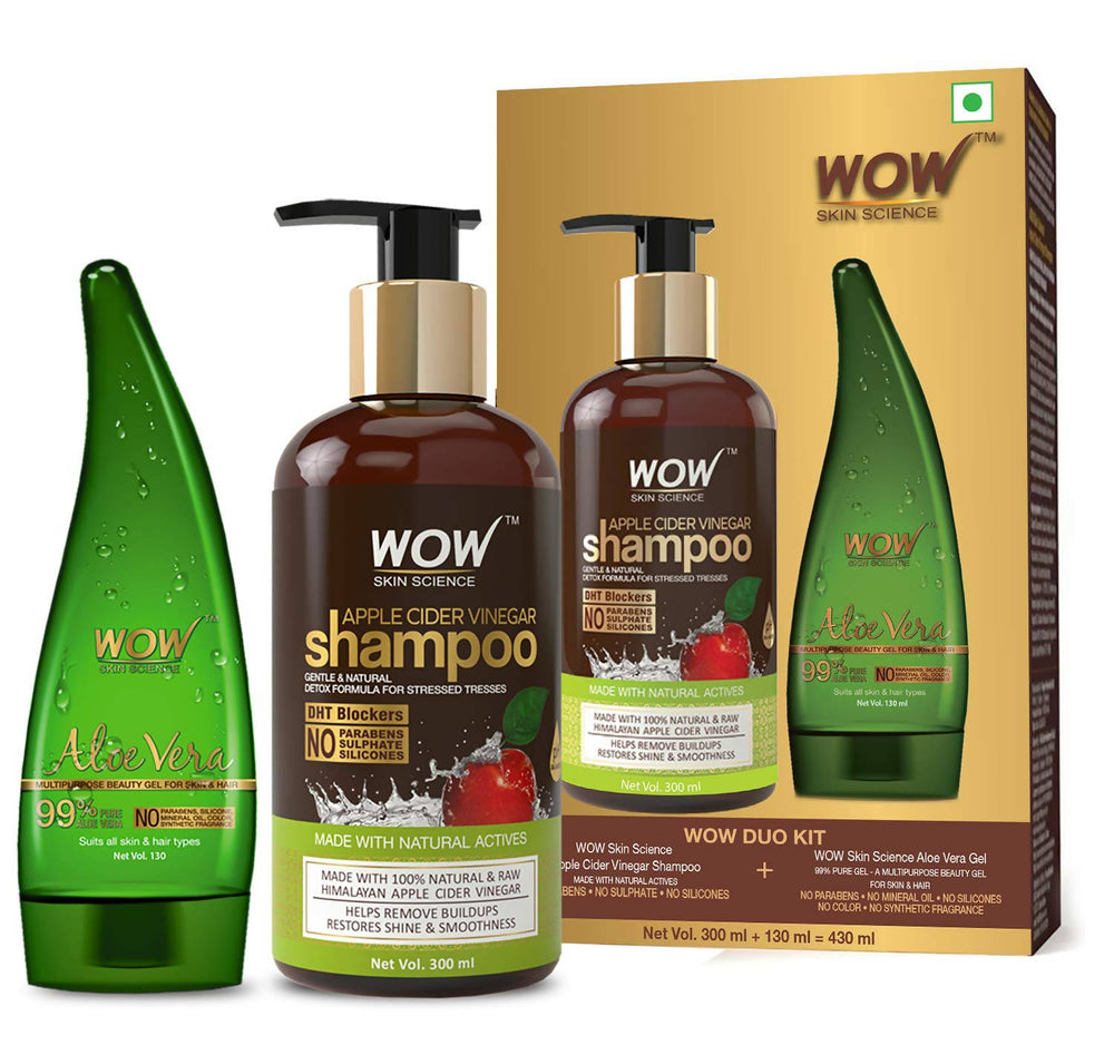 WOW Skin Science Duo kit apple cider Shampoo + Aloe vera gel