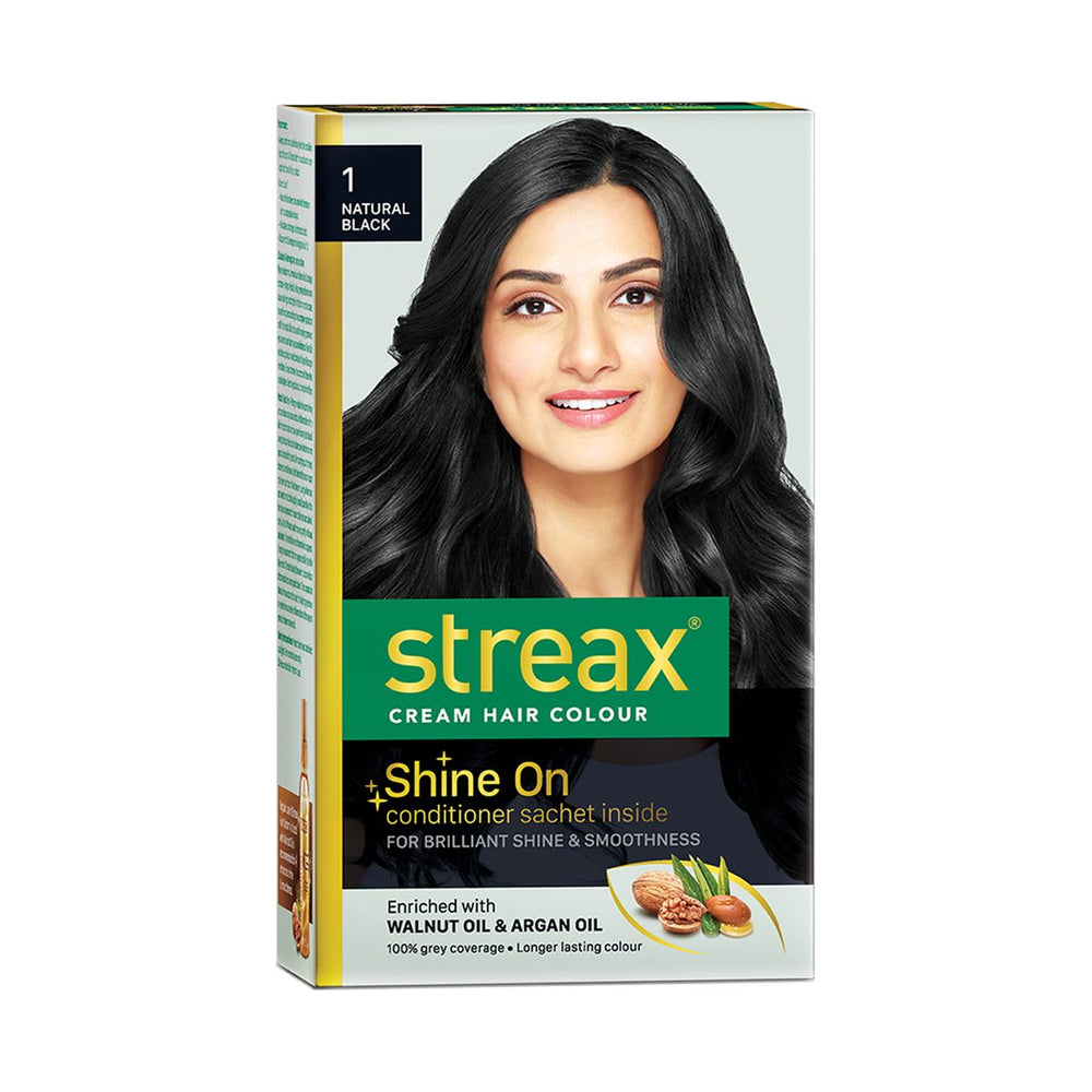 Streax Cream Hair Colour for Women & Men | Natural Black | Enriched with Walnut & Argan Oil | Instant Shine & Smoothness | Long Lasting Hair Colour | Soft & Silky Touch | 60 ml