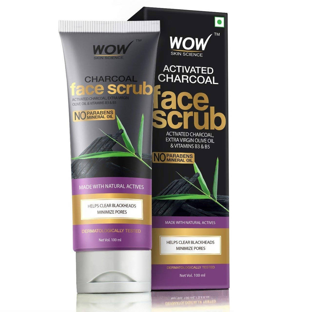 WOW Skin Science Activated Charcoal Face Scrub - No Parabens & Mineral Oil - 100mL