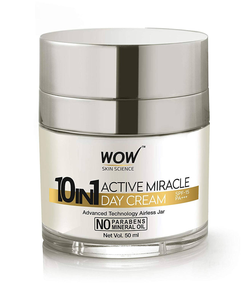 WOW Skin Science 10 in 1 Active Miracle No Parabens & Mineral Oil Day Cream, 50mL